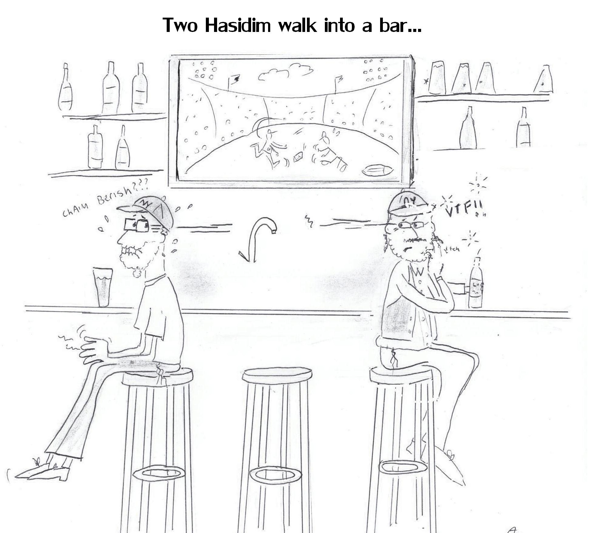 Two Hasids are in a bar to watch the superbowl, but both are afraid the other will see them