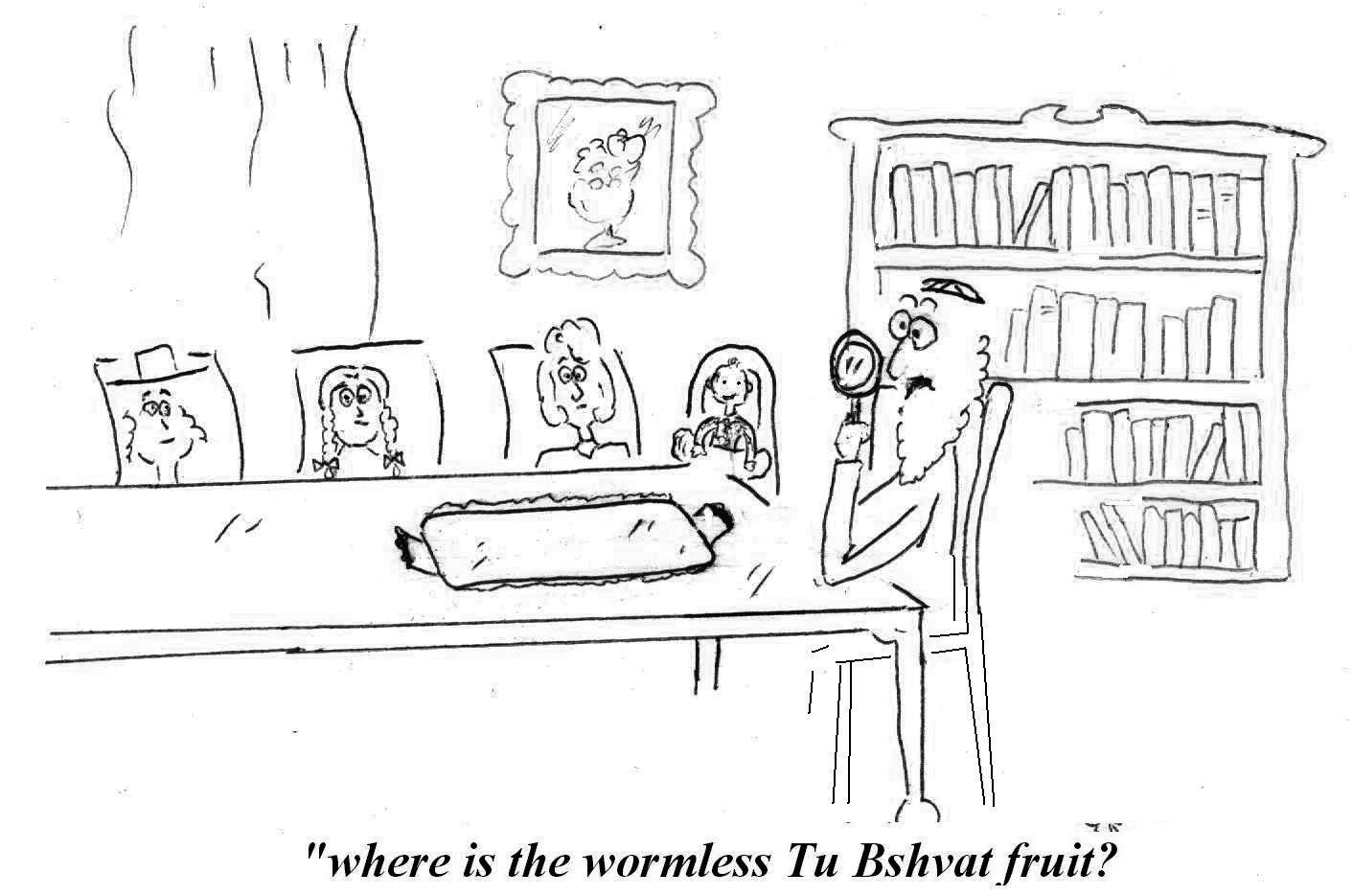 A family sits down to an empty table for Tu B'shvat. All fruits have been banned due to worms.