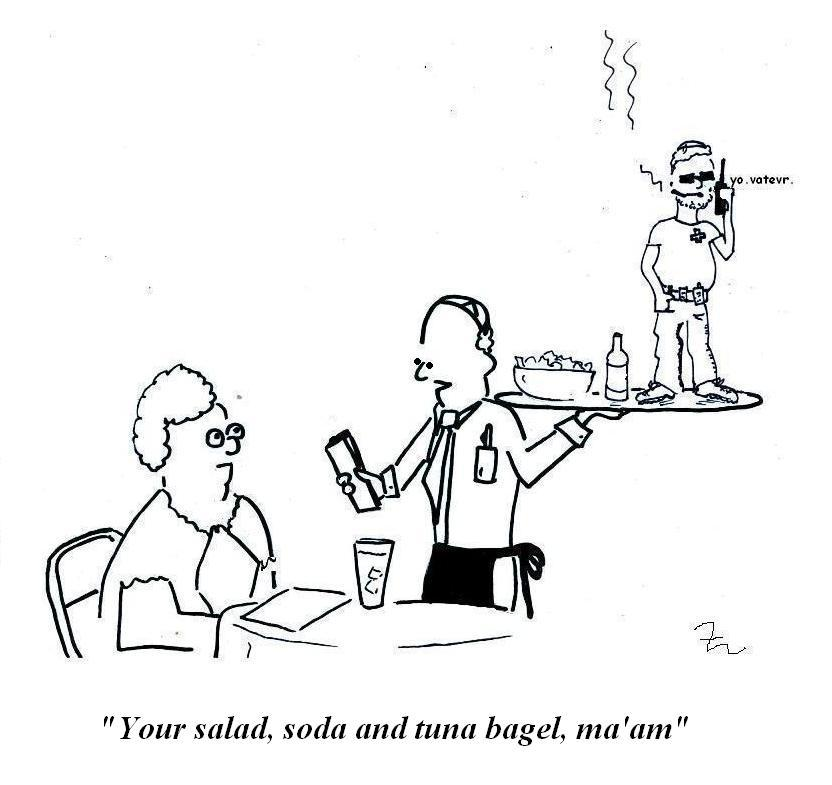 A waiter brings someone a tuna bagel which is a cool Hasidic dude