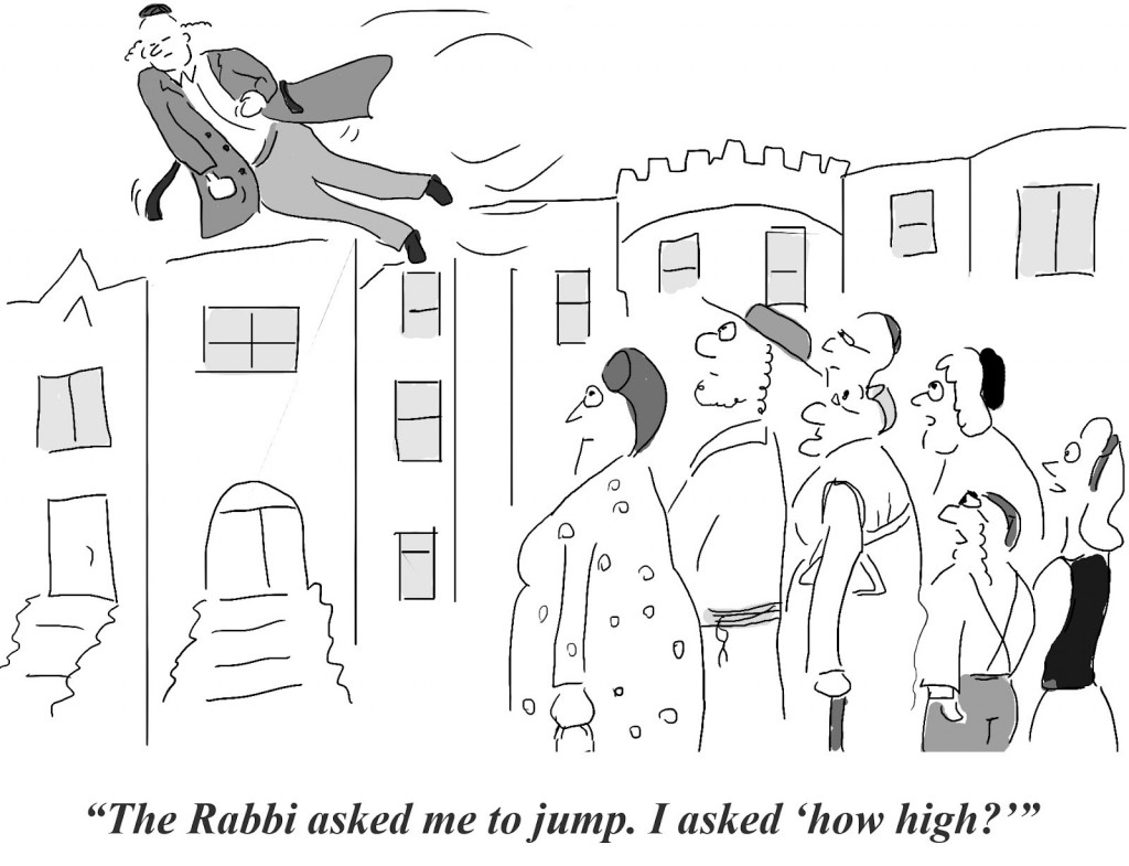 A Hasidic man flying, or jumping, because the Rebbe told him to jump