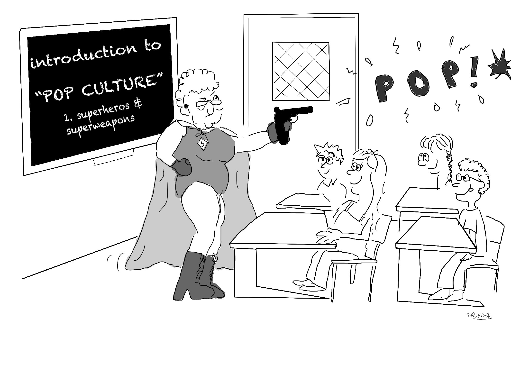 A superhero teaching pop culture by explaining how to pop someone with a gun
