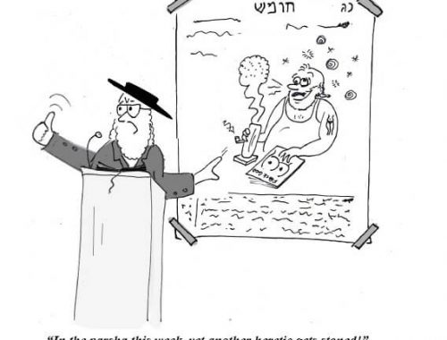 A Rabbi is giving a sermon on how heretics get stoned