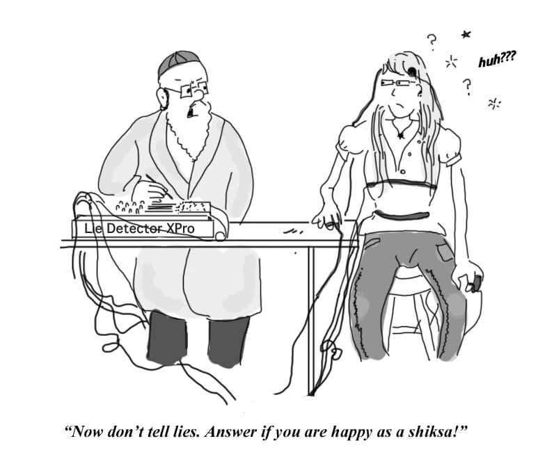 A Rabbi asks a shiksa under a lie detector whether she's happy