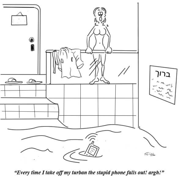 A woman's cellphone falls out of her turban while going to the mikvah