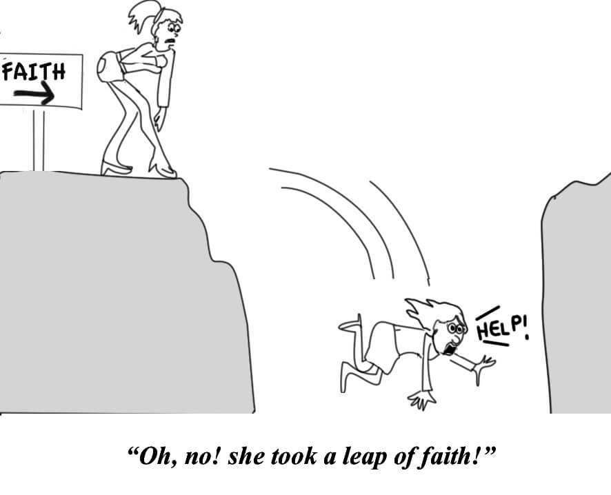 A woman takes a leap of faith and falls off a cliff